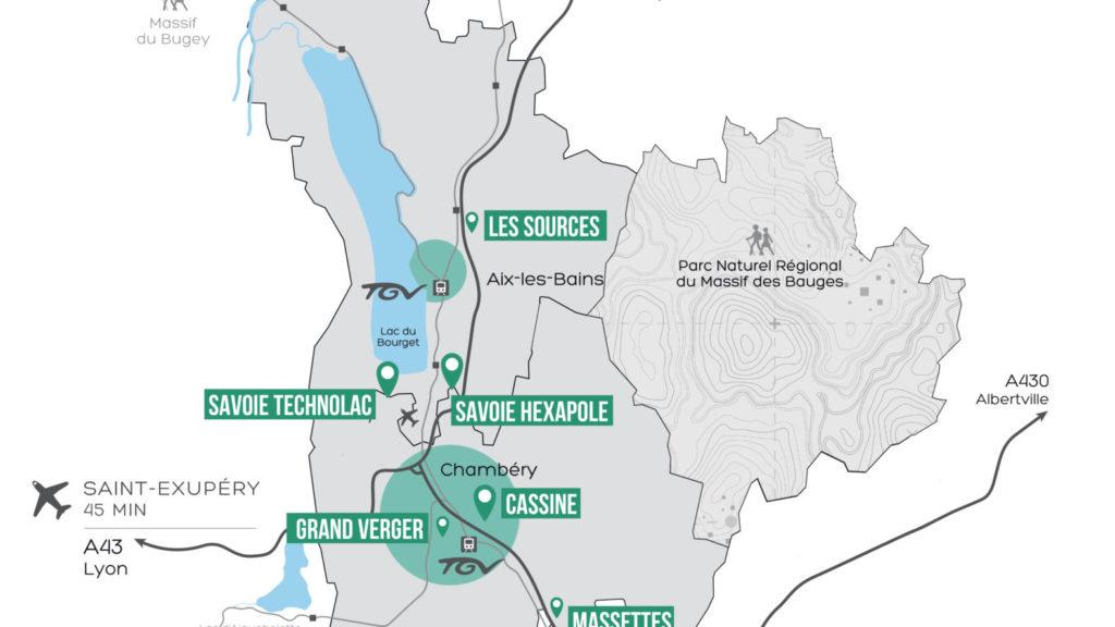 Carte du territoire couvert par les services de Chambéry-Grand Lac économie