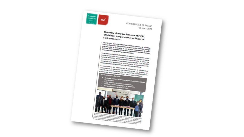 Signature d'une convention de partenariat entre Chambéry-Grand Lac économie et l'IPAC.